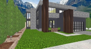 Modern mountain house poster