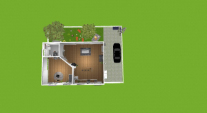 Small house with garden poster