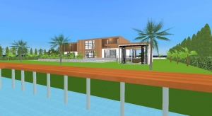 Modern mansion at the beach poster