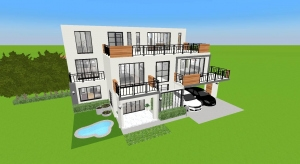 house design plan 15.5x10.5m whit 3 bedrooms poster