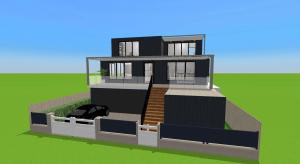 3 story modern family house poster
