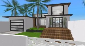 modern beach house poster