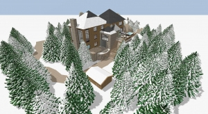 winter chalet poster